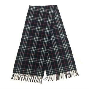 Authentic Burberrys Of London Lambswool Checker Long Wrap Stole Scarf Navy